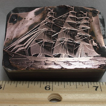 Yankee Clipper Ship Antique Letterpress Printers Block – Metal Die Johnson Type - Office
