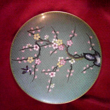 brass enamel unmarked plate  - Asian