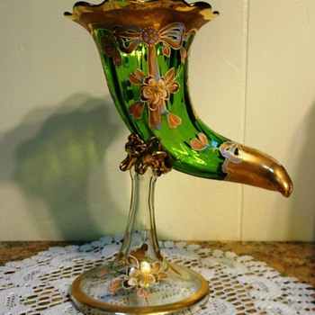 Boheimian?? Green and Gold Cornucopia Vase on tall Stem - Art Glass