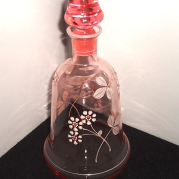 Large Muted Rose Hand Painted Perfume/Cologne Decanter  - Bottles