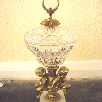 Gilt Cherub/Cupid Crystal Compote Bowl Pedastal with Lid - Glassware