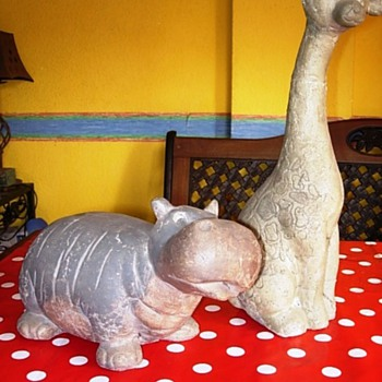 Hippo and Giraffe - Art Pottery