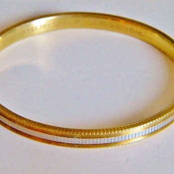 Antique Edwardian 14k 2 Tone Bangle Bracelet Hallmrkd 1916 Engagement Gift