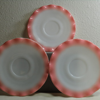 Hazel Atlas Ripple or Crinoline Pattern Saucers in Pink