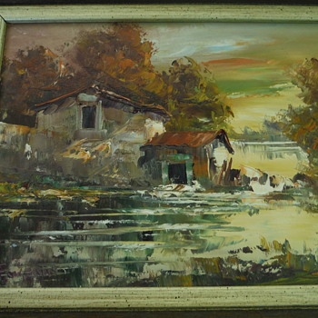 The who is this artist painting Oil on Canvas Old Buildings by the Water in Fall Scene  - Visual Art