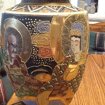 Japanese lamp with matching vase - Art Pottery