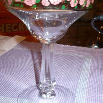 help identify vintage glass stemware pink roses glassware  - Glassware