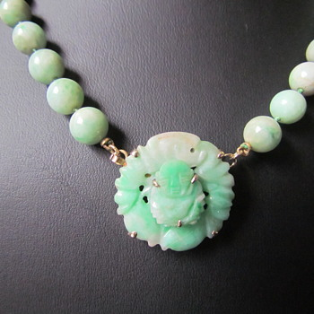 Antique Edwardian 14KT WL WALTER LAMPL CARVED JADEITE BUDDHA PENDANT NECKLACE - Fine Jewelry