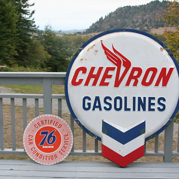 Chevron Gasoline****Union 76 Car Condition Service ,Porcelain Signs - Signs