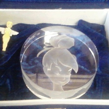 Disney/Tinkerbell Etched Glass Paper Weight - Art Glass
