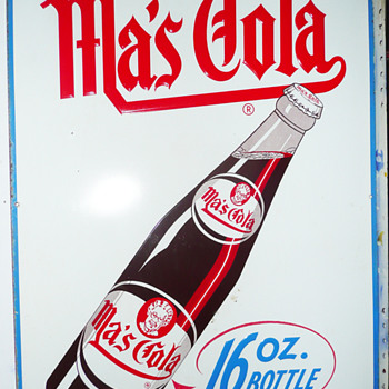Ma&#039;s Cola Large Tin Vertical Sign  - Signs