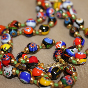 Millefiori Petite Glass Beads Necklace  - Costume Jewelry