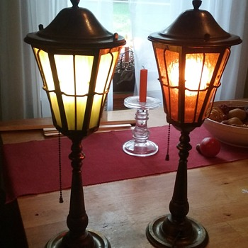 Beautiful brass and glass lamps
