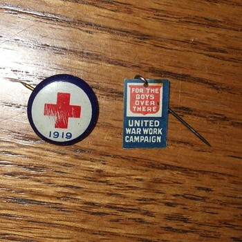 Red Cross Doner Pin and For the Boys Over There label pin. - Advertising
