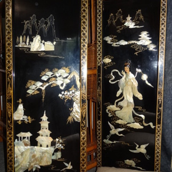 Chinese Black Lacquer Panels Mother of Pearl