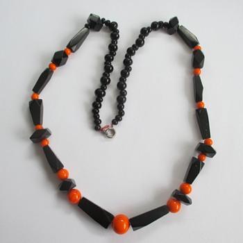Bakelite black orange necklace