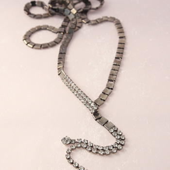 Long Gunmetal - Actually Belt - Lariat Necklace with Rhinestones