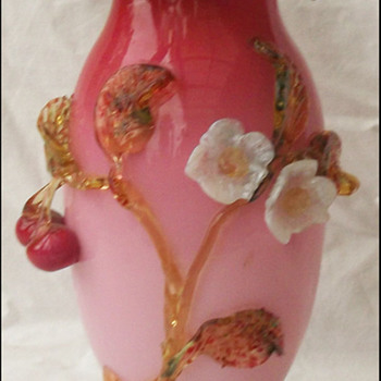 Victorian Glass Cherry Vase ( Harrach?)  - Art Glass