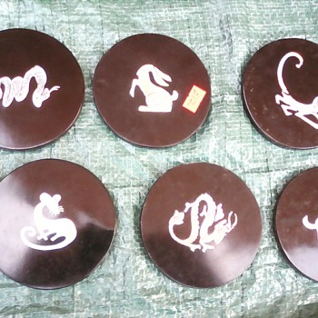 My black lacquer coasters with mother of pearl inlay