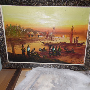 Vintage Asian Painting Market Place/Chinese/Japanese Need ID Name