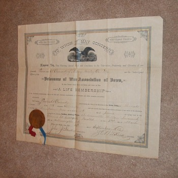 Ex Union Prisoner Association membership document Andersonville survivor