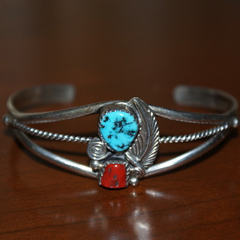 Coral and Turquoise Sterling Cuff Bracelet (Possibly Native American?)