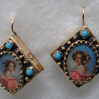 Old Hand Made 14K Gold Earrings - Victorian Era