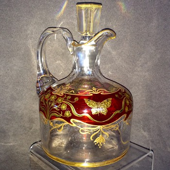 Bohemian? French? enamelled Crystal Faceted Decanter