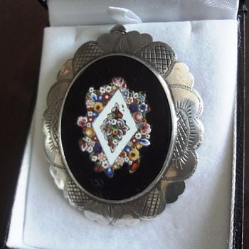 Micro Mosaic Millefiori set in silver brooch pendant