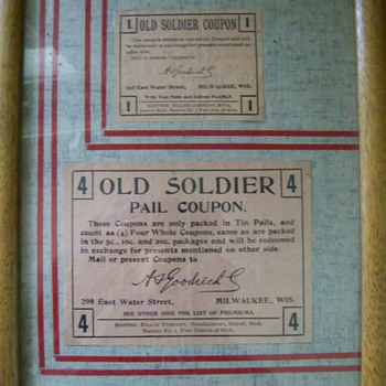 Old Soldier Cigar  Tobacco Coupons. Backs scanned now .