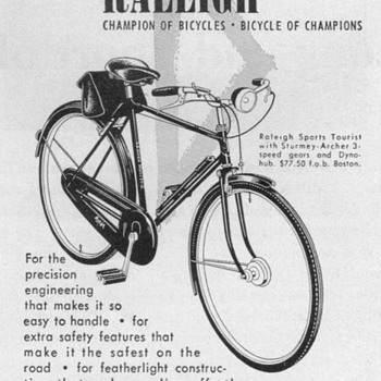 1953 - Raleigh Bicycle Advertisement - Advertising