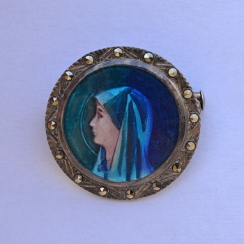 Antique Limoges Enamel Saint Fabiola Pin / Brooch