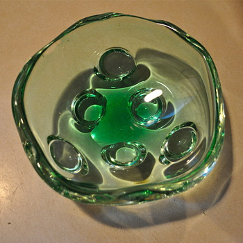 Amoeba Retro Heavy Cut Glass Bowl - Glassware