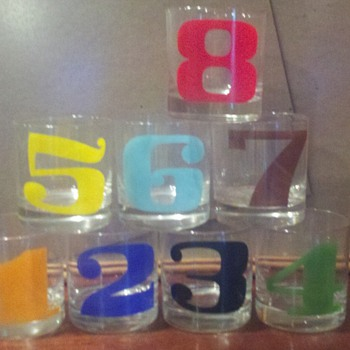 Numbered cocktail glasses 1-8