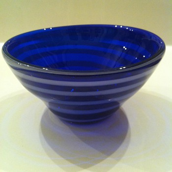 Cobalt Blue Swirled Bowl - Art Glass