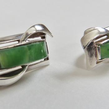 Russian Sterling &amp; Jade Earrings~Nicely Made, Mrked 925 + Other Unknown mark - Fine Jewelry