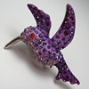 Purple Hummingbird Brooch with Rhinestones