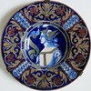 Antique Majolica Dish with Portrait, Dante?~Lots of damage but Gorgeous!