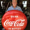 "Coca-Cola Porcelain 36"" Disc (Button) Sign...Drink Coca-Cola In Bottles...Excellent Condition...1950's"
