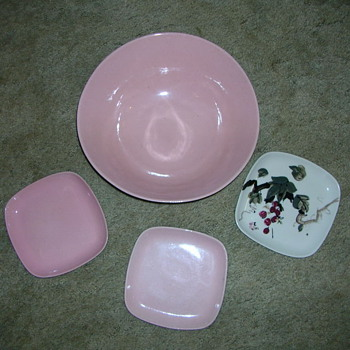 Pottery Bowl and 3 Side Dishes