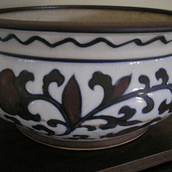 Chinese  Ceramic Bowl  underglazed Blue - ( jade green color splotches )    Iron  red  copper  colored oxide painted over blue