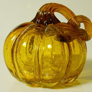 Pumpkin Amber Crackle Art Glass, 20 Century - Art Glass