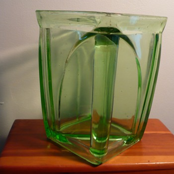 Rectangular Depression glass Pitcher - one side is a handle
