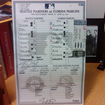 Line-up card from Mariners Dugout (6/24/2011, signed by Felix Hernandez. - Baseball