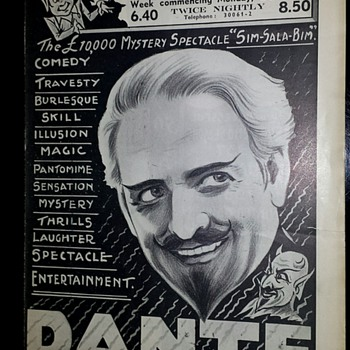 Original 1938 Dante The Magician Program - Paper