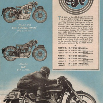 1951 A.J.S. Motorcycle Advertisement - Advertising