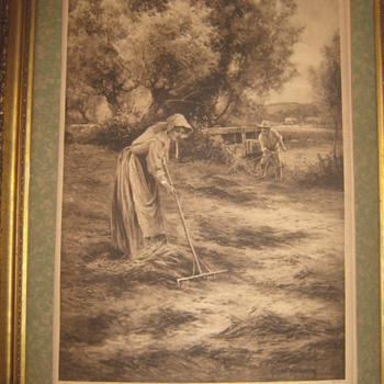 "ANTIQUE PICTURE CALLED ""HAYMAKING"""