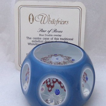 Whitefriars Caithness Glass Paperweight Star of Roses 1982
