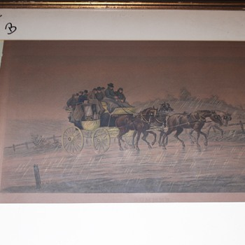Very old Henry Alken Print Stage Coach, working on frame. - Visual Art