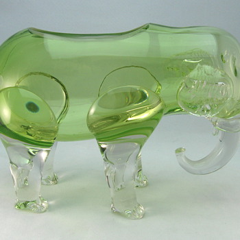 Loetz Elephant Figural Vase - Art Glass